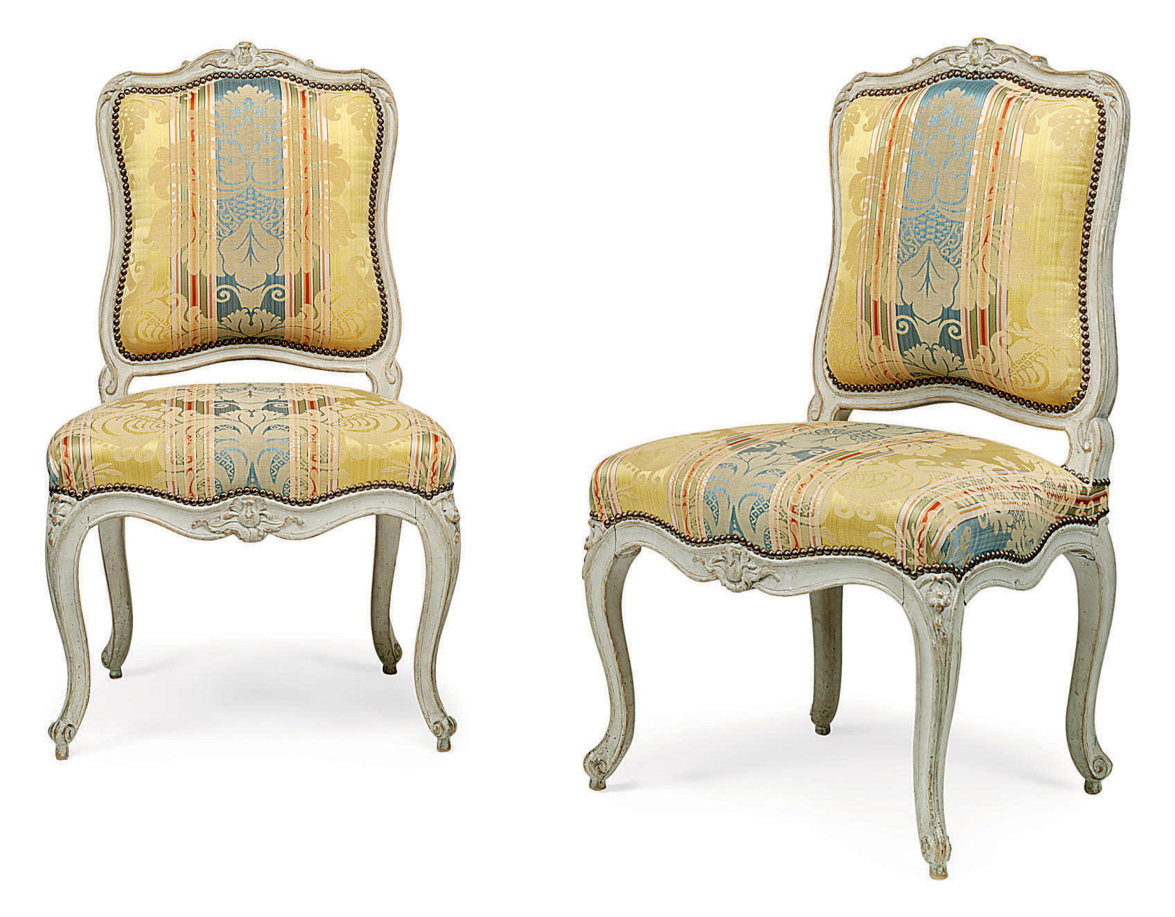 A PAIR OF LOUIS XV GREY-PAINTED CHAISES