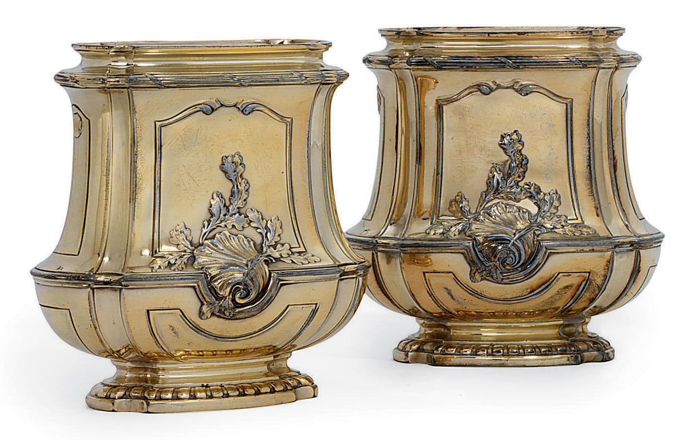 A PAIR OF FRENCH SILVERED METAL VASES