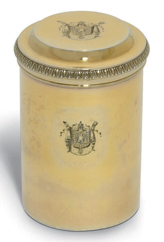A FRENCH EMPIRE SILVER-GILT CANNISTER