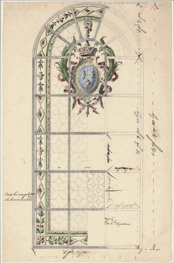 Design for a stained-glass window with the arms of France in a crowned cartouche