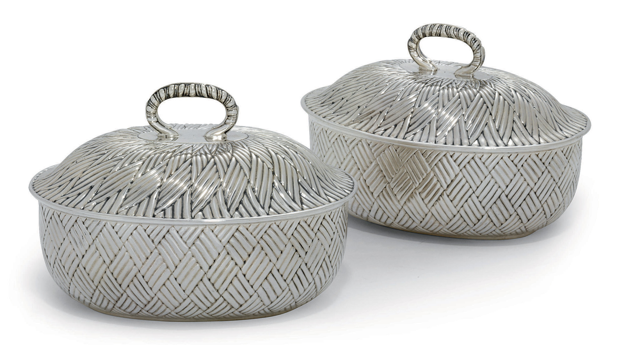 A PAIR OF GEORGE II SILVER BUTTER-DISHES AND COVERS