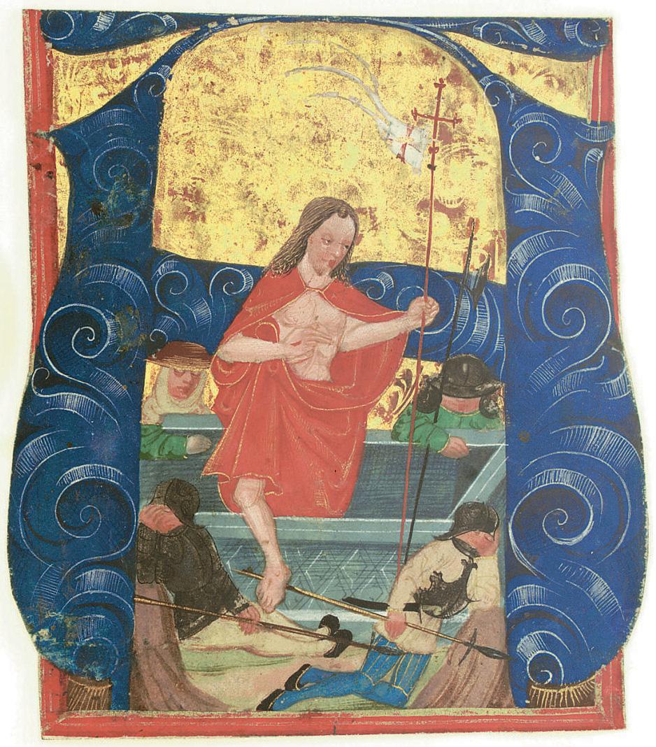 RESURRECTION, historiated initial A cut from a choirbook, illuminated manuscript on vellum