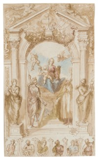 The Madonna and Child enthroned with Saint George and Saint Nicholas under an arch flanked by statues of Religion and Faith: A design for a processional banner with Saint Sebastian, the four Evangelists and another saint, with an alternative design for the pediment and the outline of a coat-of-arms under a festooned arch