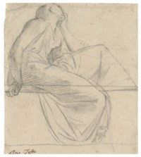 A seated figure in profile