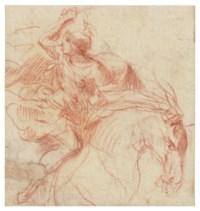A Roman cavalryman in the midst of battle, his sword raised