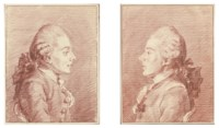 Portrait of Jean-Charles-Louis des Mesgrigny, in profile to the right, bust-length; and Portrait of the same, in profile to the left, bust-length, wearing the Order of Saint-Esprit