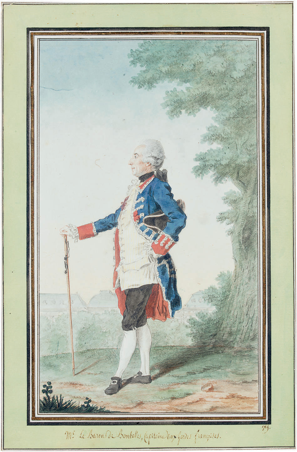 Portrait of the Baron de Bombelles, full-length, in the Jardin des Tuileries
