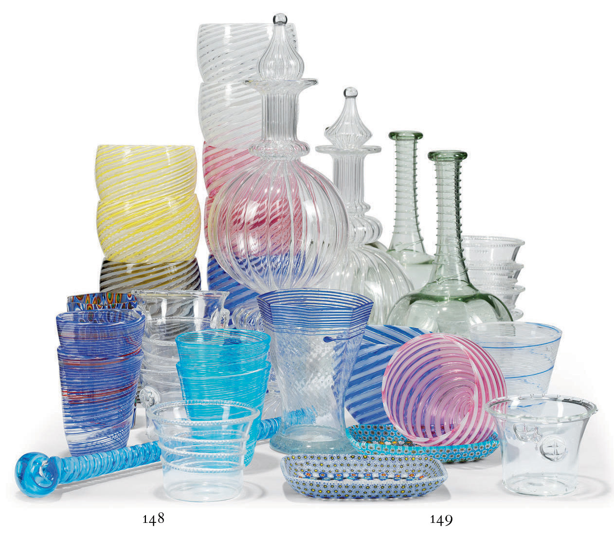A QUANTITY OF COLOURED GLASS DRINKWARE