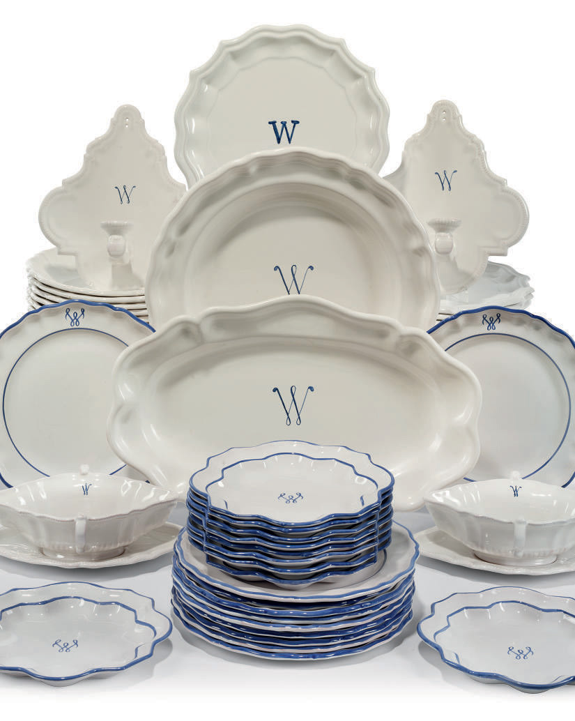 A MATCHED PART SERVICE OF FRENCH FAIENCE DINNERWARES