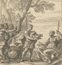 Meleager presenting Atalanta with the Boar's head; Study for the Staircase Mural at Sherbourne House, Dorset