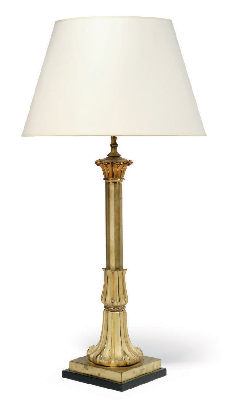 A WILLIAM IV GILT-BRASS LAMP