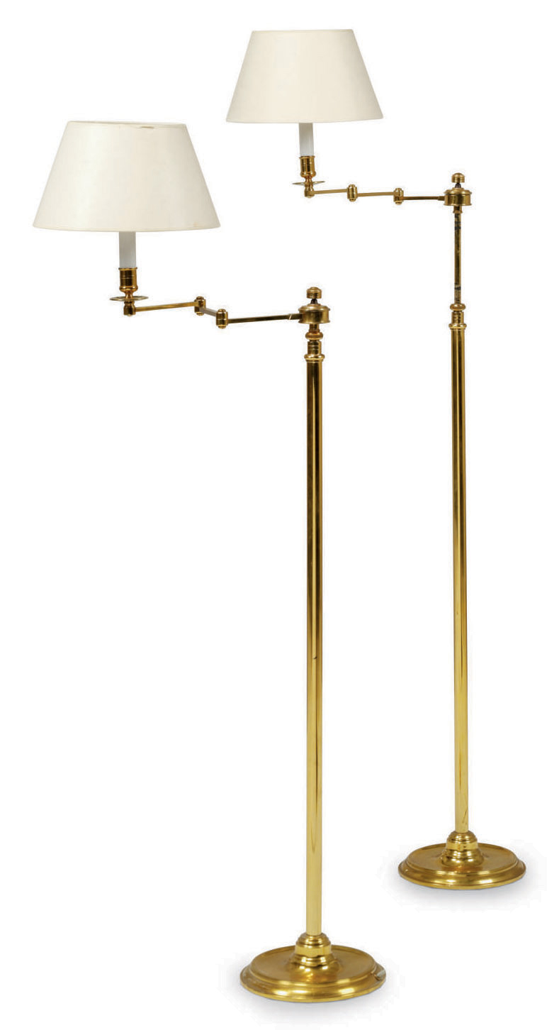 A PAIR OF FRENCH BRASS ARTICULATED STANDARD LAMPS
