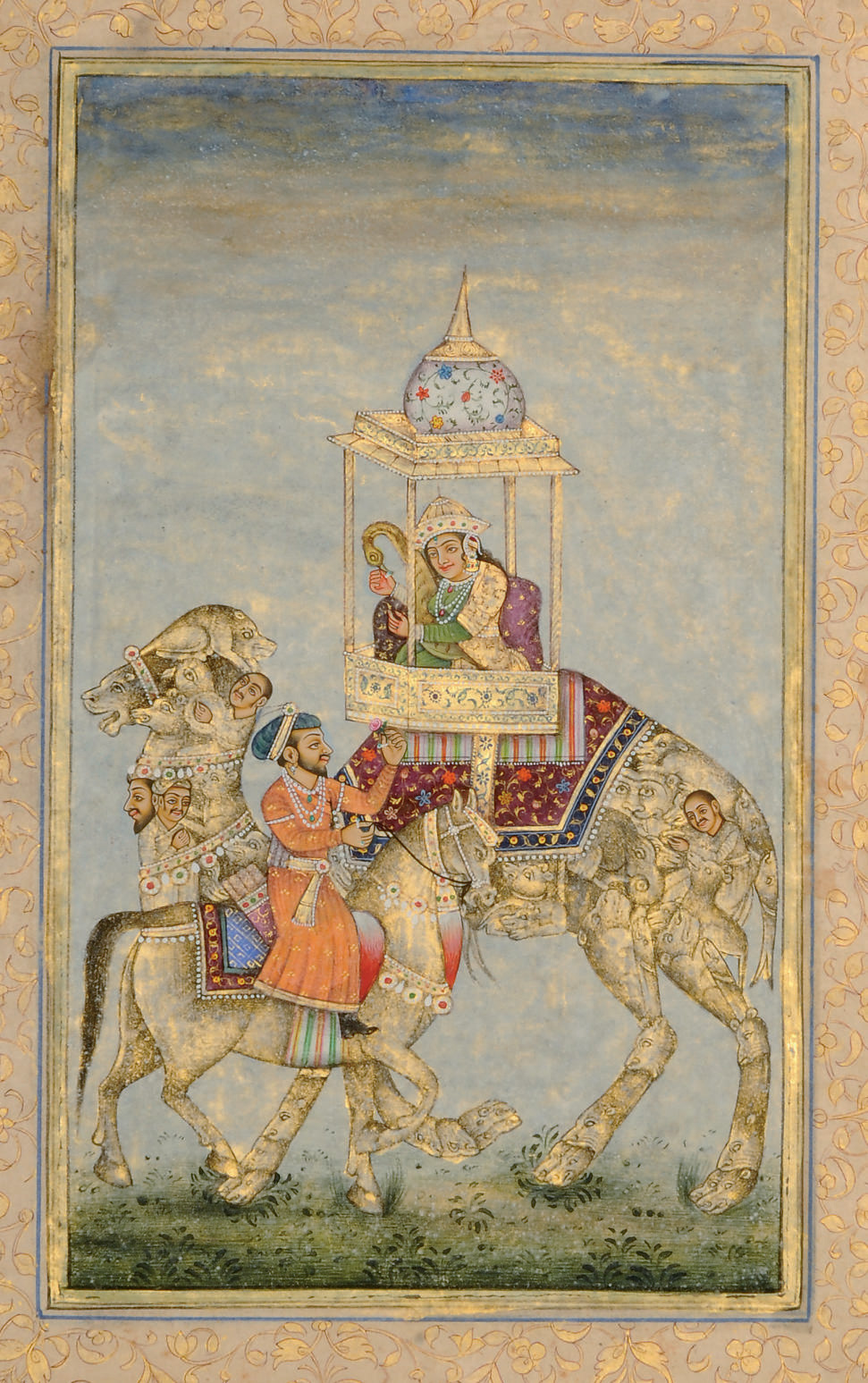 AN INDIAN PRINCE ON HORSEBACK WITH PRINCESS ON A COMPOSITE CAMEL