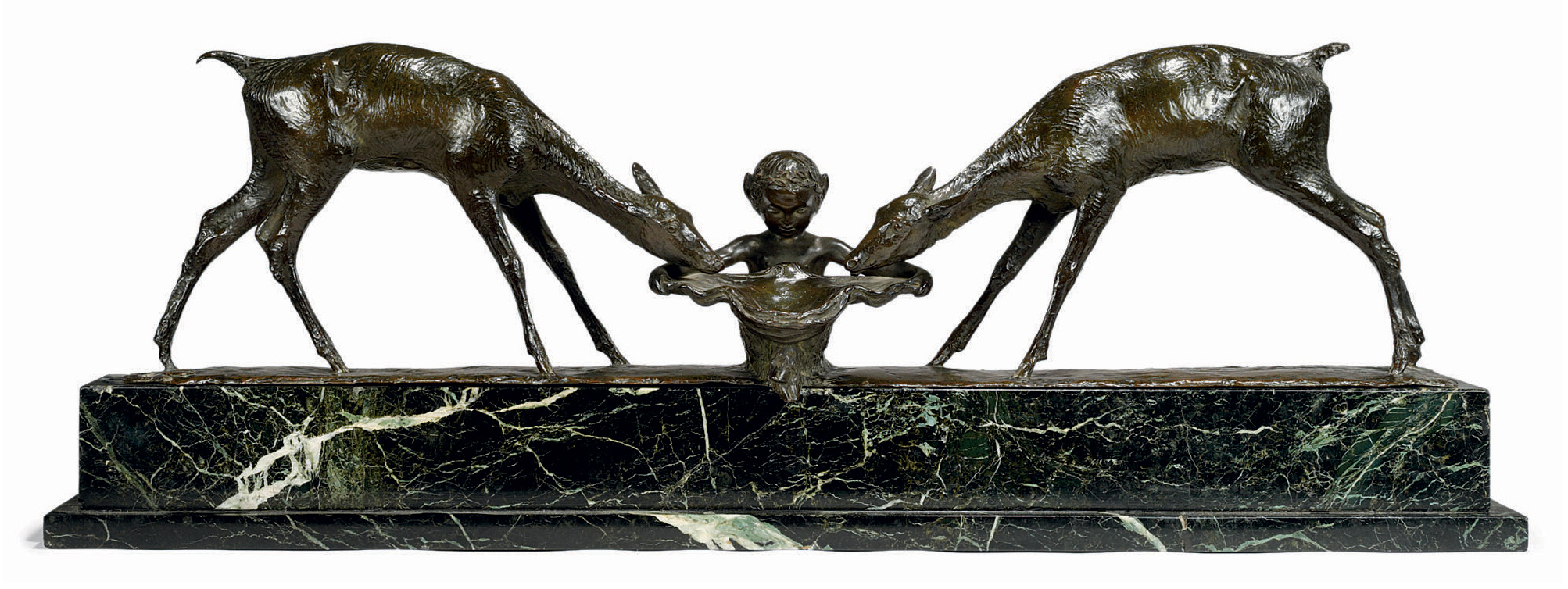A FRENCH PATINATED BRONZE MODEL OF A SATYR AND TWO FAWNS