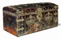 A GEORGE II BRASS-MOUNTED LEATHER TRUNK