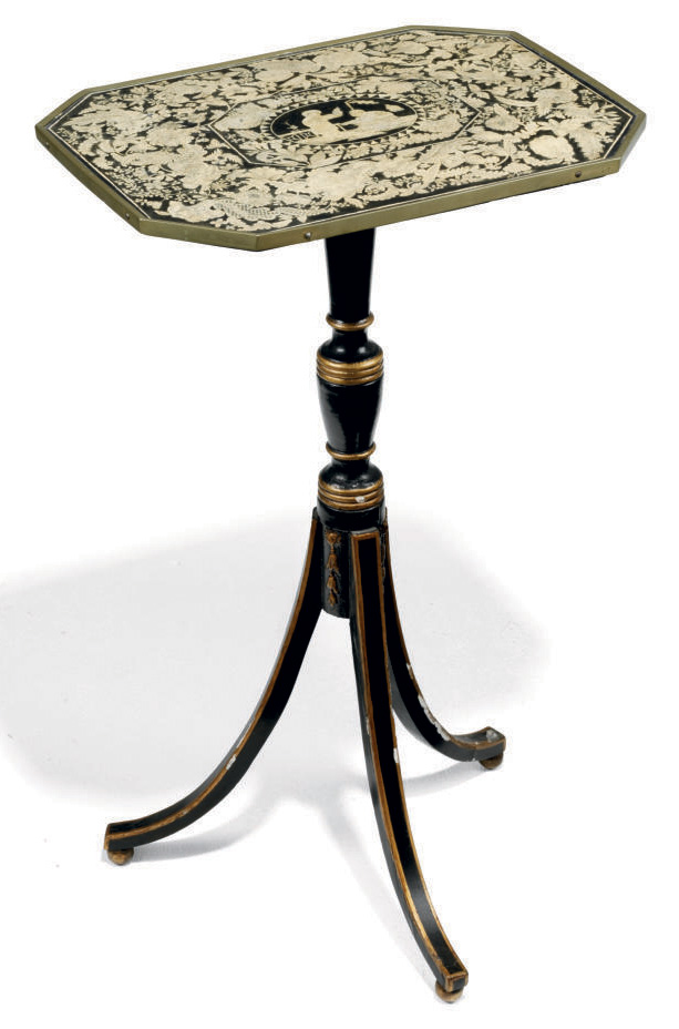 A REGENCY PARCEL-GILT, EBONISED AND PENWORK OCCASIONAL TABLE
