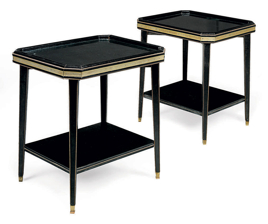 A PAIR OF FRENCH GILT-BRASS MOUNTED LEATHER OCCASIONAL TABLES