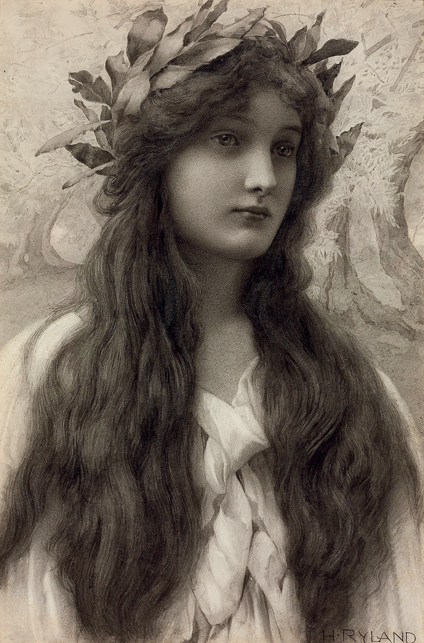Maiden with a laurel wreath