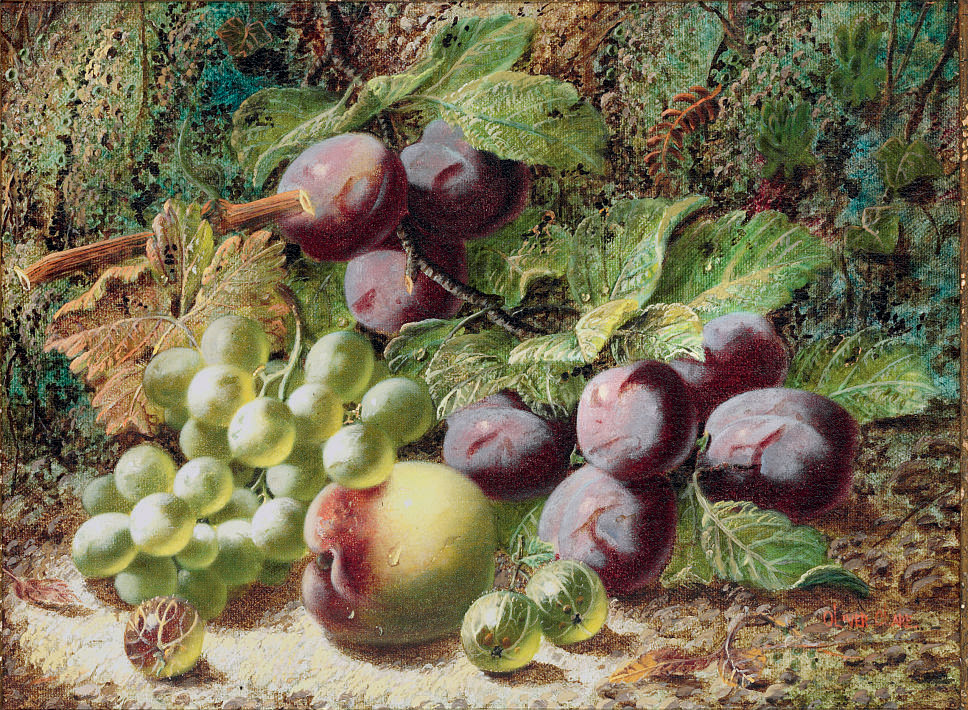Plums, grapes, a peach and gooseberries on a mossy bank