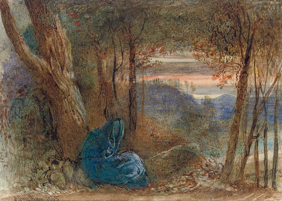 A wayfarer resting by a lake