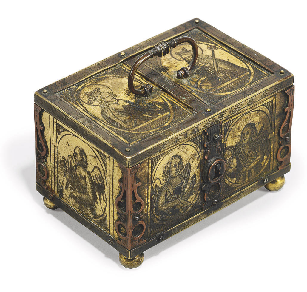 A GERMAN RECTANGULAR GILT-COPPER AND BRASS MINIATURE CASKET