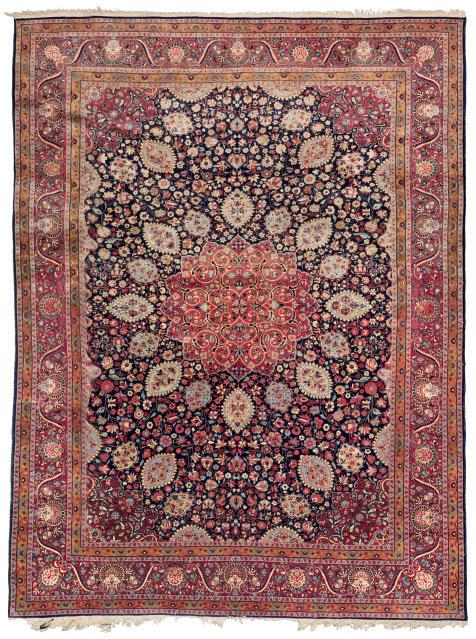 A TEHRAN PART-SILK CARPET