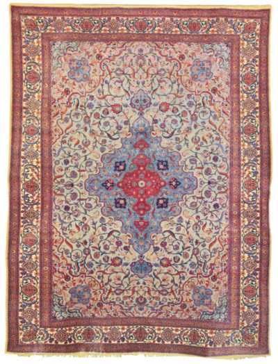 A SILK SOUF KASHAN CARPET