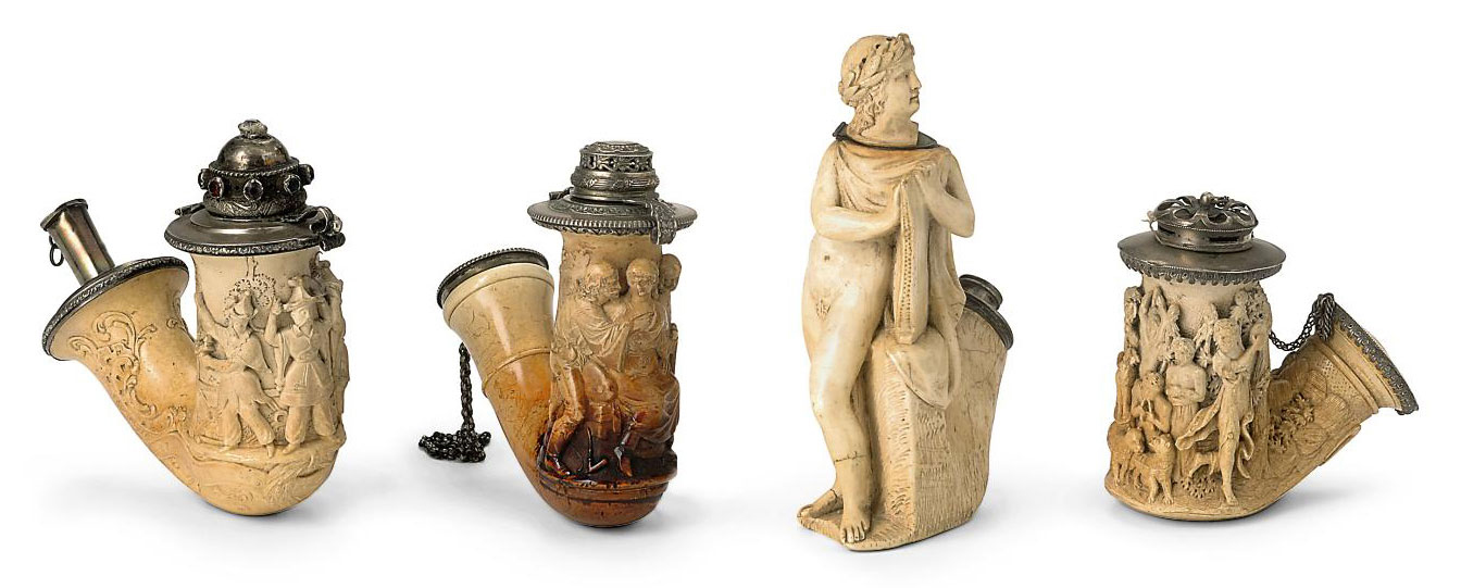 AN UNUSUAL AUSTRIAN MEERSCHAUM PIPE CARVED AS ORPHEUS WITH A LYRE
