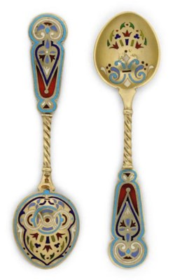 A PAIR OF RUSSIAN SILVER-GILT,