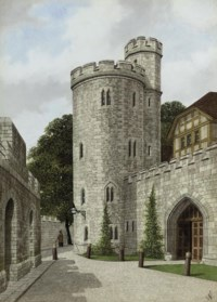 Lanthorn Tower, The Tower of London (illustrated); The gateway of Byward tower from the West, Tower of London; The small courtyard of the Savoy Palace; Roman water tower near Ludgate Hill, discoverd in 1792; and Fournevals Inn, Holborn