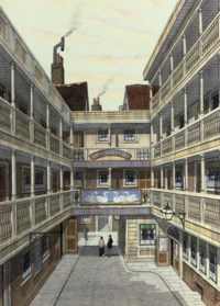 The Four Swans, Bishopsgate Street (illustrated); and five other watercolours of London inns including: The Old Pack Horse, Turnham Green; Harpur Arms, Theobalds Road, the last of London's galleried inns; Courtyard of The White Boar, Piccadilly; The White Hart, Southwark; and The Swan and Two Necks, Lad Lane, City