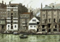 Paul's Wharf, seen from Bankside, Southwark; Condemned houses, Snatcher's Island (two); Trig Folly, Rotherhithe; The Spa, Bermondsey; Field Lane and Fleet river, from 'Oliver Twist'; and Farthing Alley, Jacob's Island, Rotherhithe