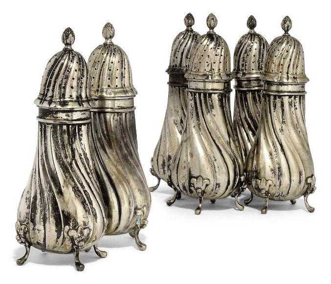 A SET OF SIX GERMAN SILVER SUG