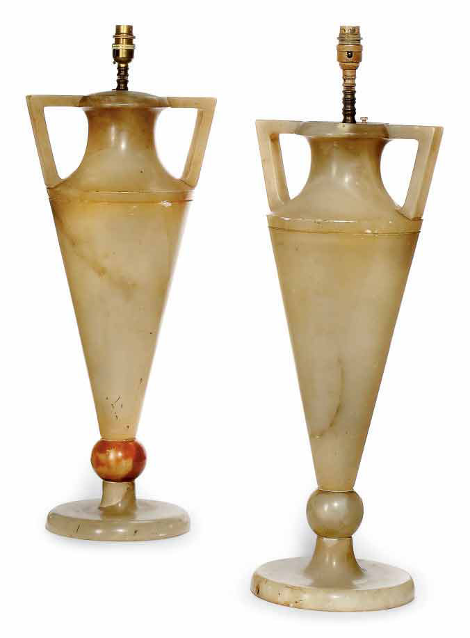 A PAIR OF ART DECO ALABASTER TWIN-HANDLED VASES