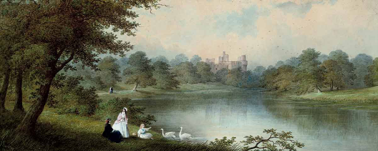Feeding the swans before Warwick Castle (illustrated); and Herding the cattle past Carisbrook Castle, Isle of Wight