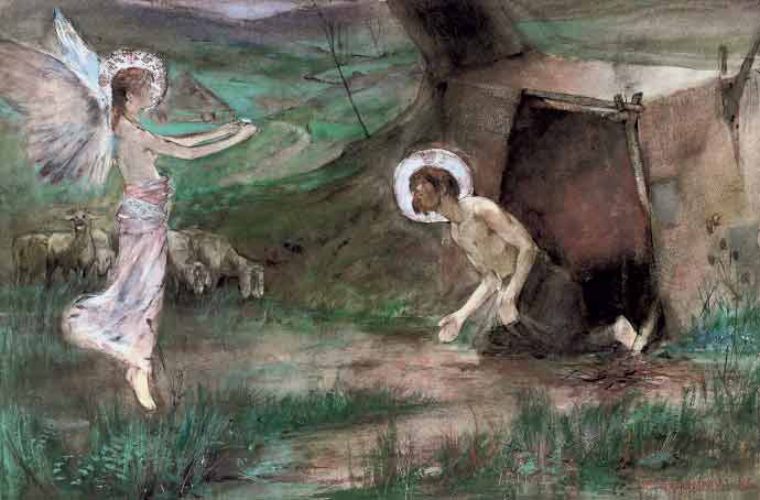 A Hermit is visited by an Angel