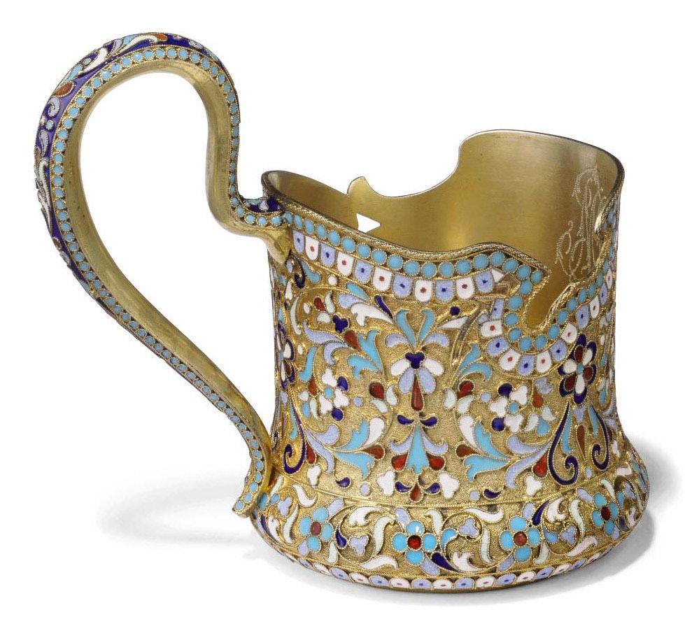 A RUSSIAN SILVER-GILT AND CLOISONNE TEA-GLASS HOLDER