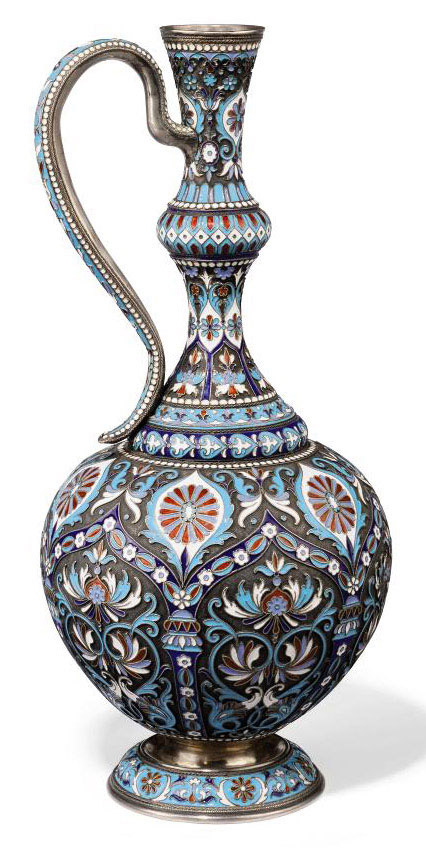 A RUSSIAN SILVER AND CLOISONNE ENAMEL JUG