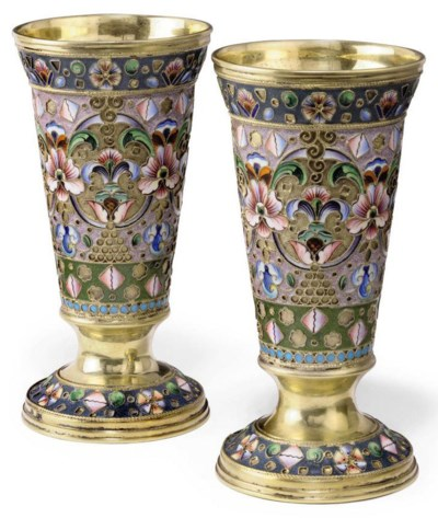 A PAIR OF RUSSIAN SILVER-GILT