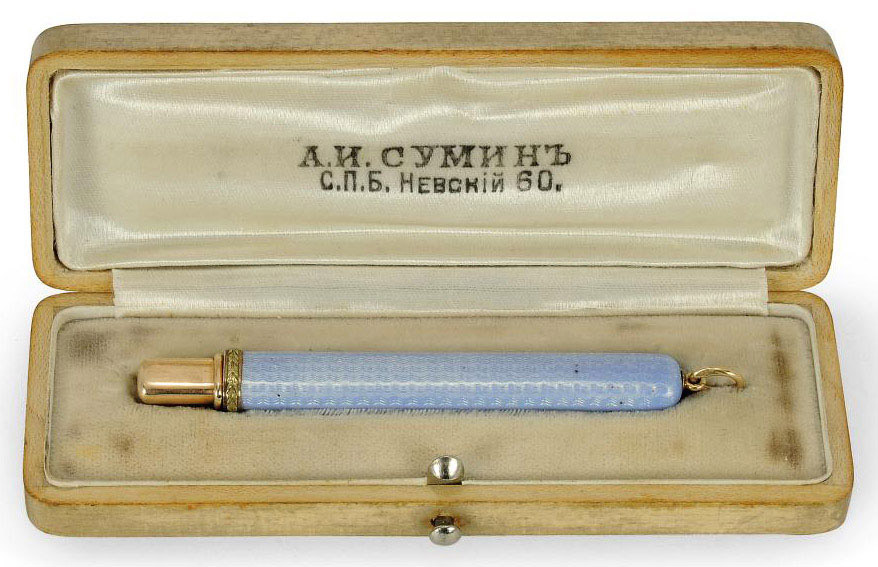 A TWO-COLOUR GOLD AND POWDER BLUE ENAMEL PENCIL IN MANNER OF FABERGE