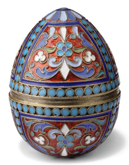 A RUSSIAN SILVER-GILT AND CLOISONNE ENAMEL BOX IN FORM OF AN EGG