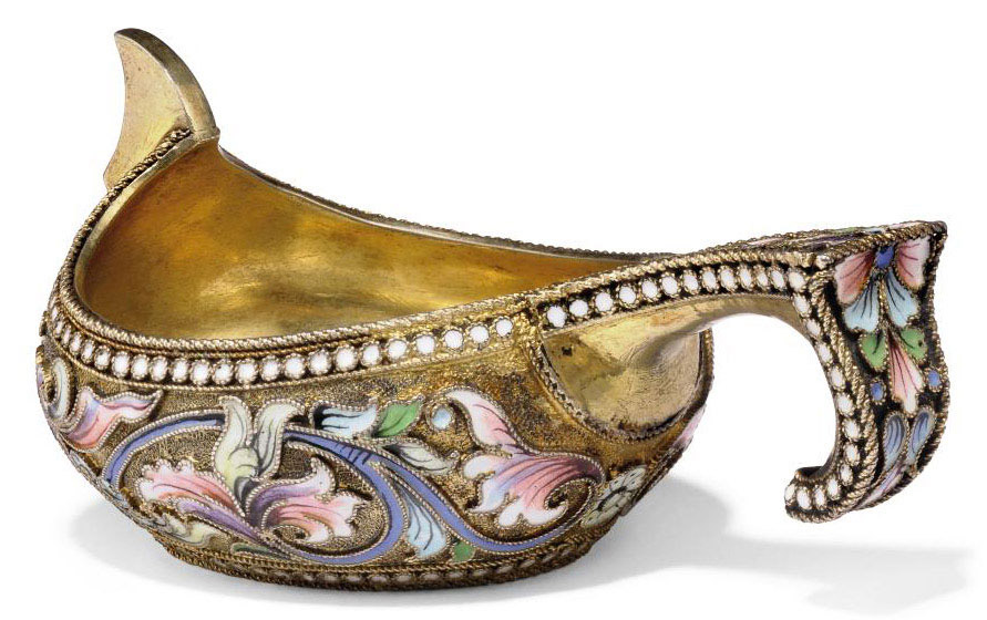 A SMALL RUSSIAN SILVER-GILT AND CLOISONNE ENAMEL KOVSH