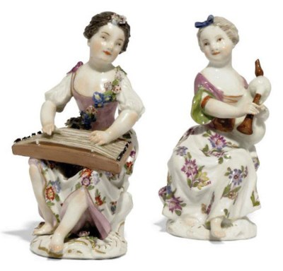 TWO MEISSEN FIGURES OF GIRL MU
