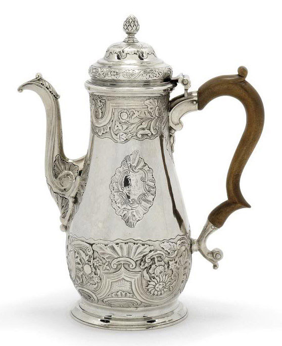 A GEORGE II PROVINCIAL ROCOCO SILVER COFFEE POT