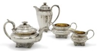 A GEORGE IV PROVINCIAL SILVER 3-PIECE TEASET WITH LATER HOT WATER JUG EN SUITE