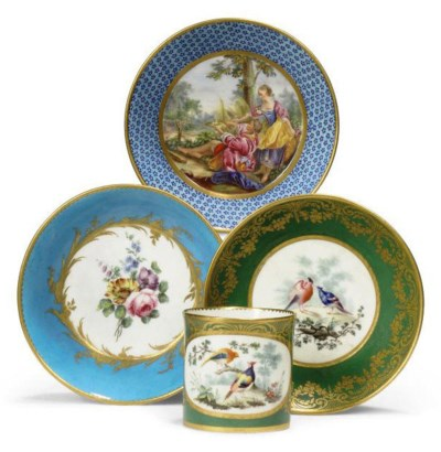 A SEVRES TURQUOISE-GROUND SAUC