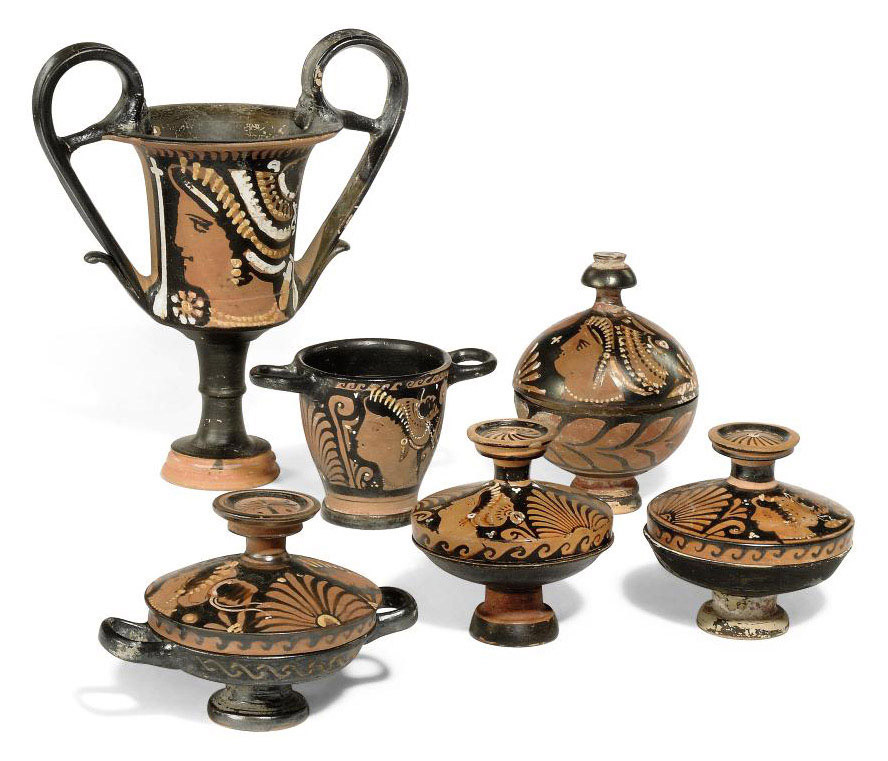 A GROUP OF SOUTH ITALIAN RED-FIGURED POTTTERY VASES