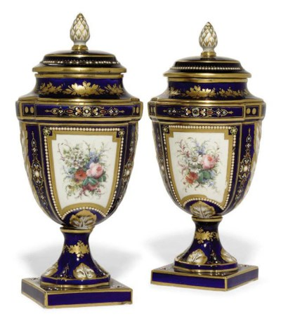 A PAIR OF SEVRES-STYLE DARK BL