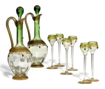 A BOHEMIAN GLASS SPIRIT SET