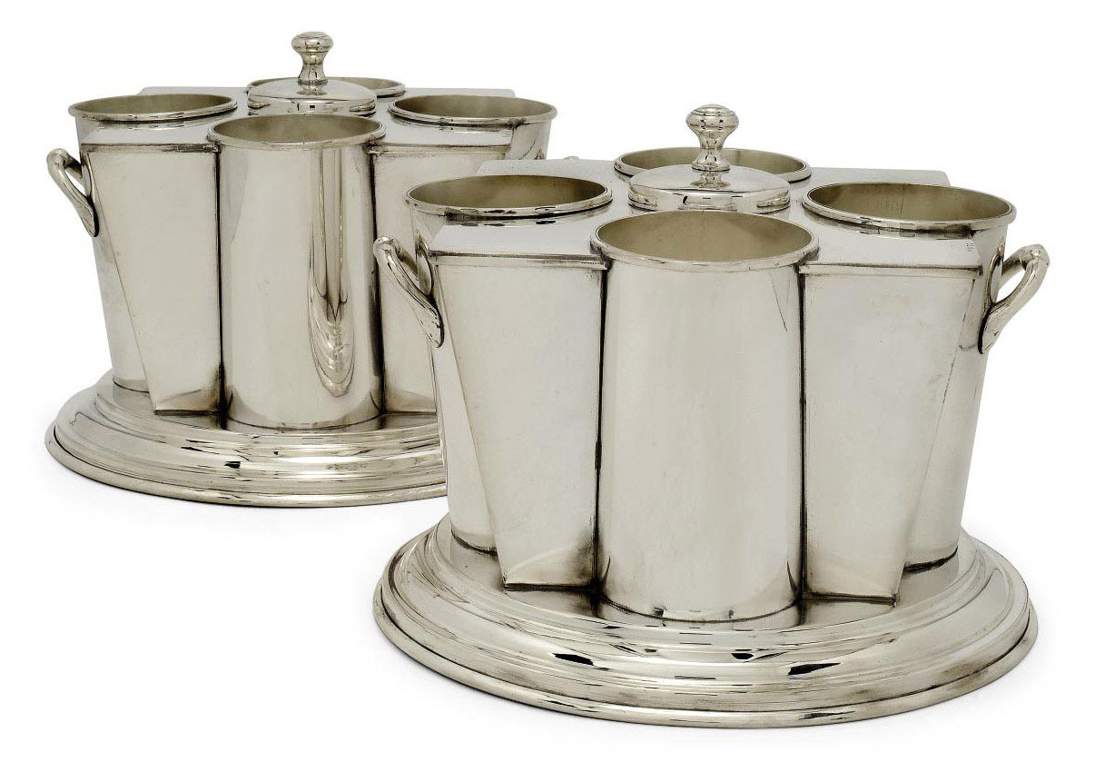 A PAIR OF SILVER-PLATED CHAMPAGNE COOLERS